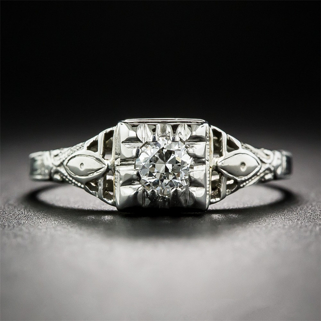 14K White Gold 0.4CT Lab Grown Diamond Solitaire Wedding Engagement Ring