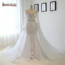 Fotos reais com decote em v manga longa renda strass cristal vestido de casamento com saia removível