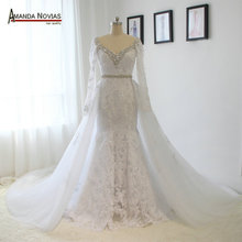 Real Photos V Neck Long Sleeve Lace Rhinestones Crystal Wedding Dress With Removable Skirt