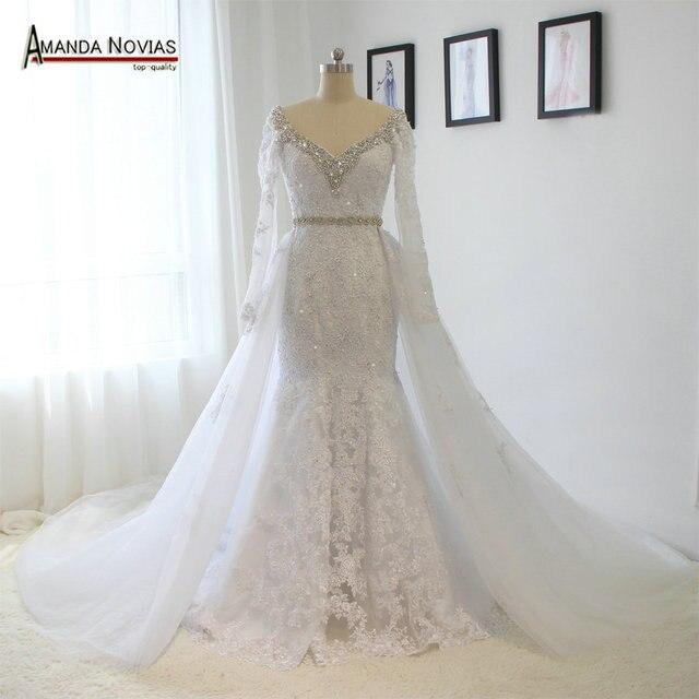 Реальные фотографии, свадебное платье со съемной юбкой и V образным вырезом, длинным рукавом, кружевом, стразами, кристаллами