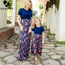 цена на Chivry New Mother Daughter Dresses Short Sleeve Patchwork Floral Long Maxi Dress Mom and Daughter Dress Family Matching Clothes