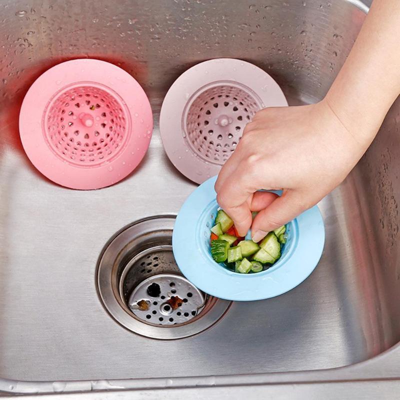 Kitchen Gadgets Accessories Round Silicone Drain Cover Basin Sink Strainer Filter Shower Hair Catcher Stopper Plug