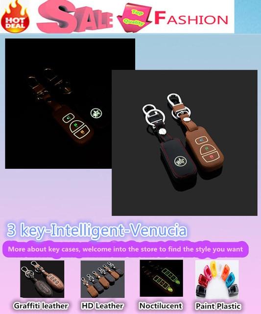 Superior calidad de estilo cubierta del coche detector luminoso teclas de cuero del bolso del caso cartera de la cadena inteligente / fold para VENUCIA R30 D50 R50 R50X