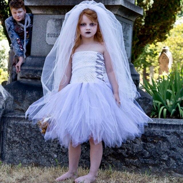 White Color Girl Halloween Nightmare Before Christmas Costume Sliver Ribbons Knee Length Cosplay Vampire Wedding