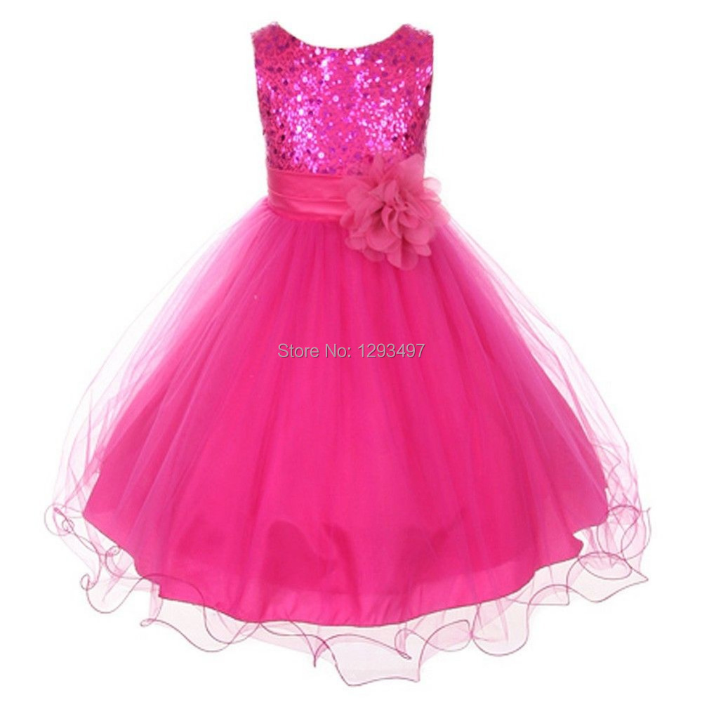 01e8687c8 2015 Red Sequins Tulle Flower Girl Dress Silver Ivory White Country ...