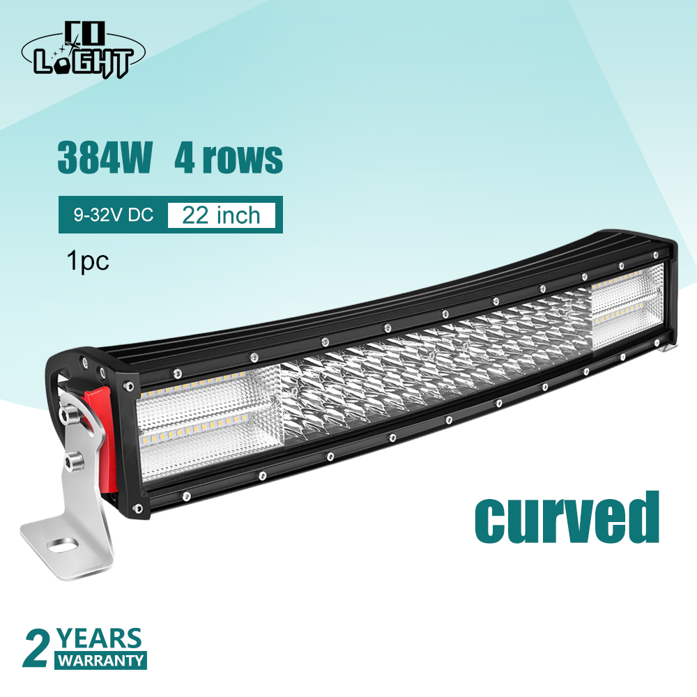 CO LIGHT Led Bar Curved 22Inch 8D Off Road 4X4 Work Light 12V 384W Spot Flood