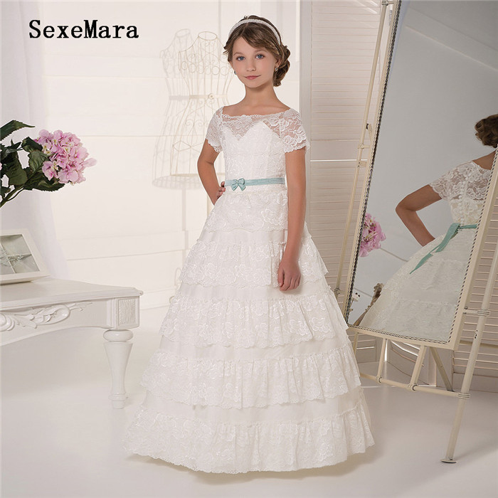New Ivory White Girls Dresses for Wedding Lace Soft Tulle A Line Kids Pageant Dress Birthday Communion Gown Size2-16YNew Ivory White Girls Dresses for Wedding Lace Soft Tulle A Line Kids Pageant Dress Birthday Communion Gown Size2-16Y
