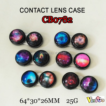 FREE SHIPPING CB0782 galaxy star colorful contact lens case CON holder travel box 10PCS/LOT