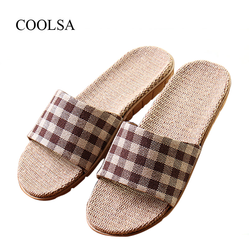 COOLSA Women's New Arrival Spring Gingham Linen Slippers Flat Fabric Eva Non-Slip Slides Linen Sandals Home Slippers Flip Flops coolsa women s summer flat non slip linen slippers indoor breathable flip flops women s brand stripe flax slippers women slides
