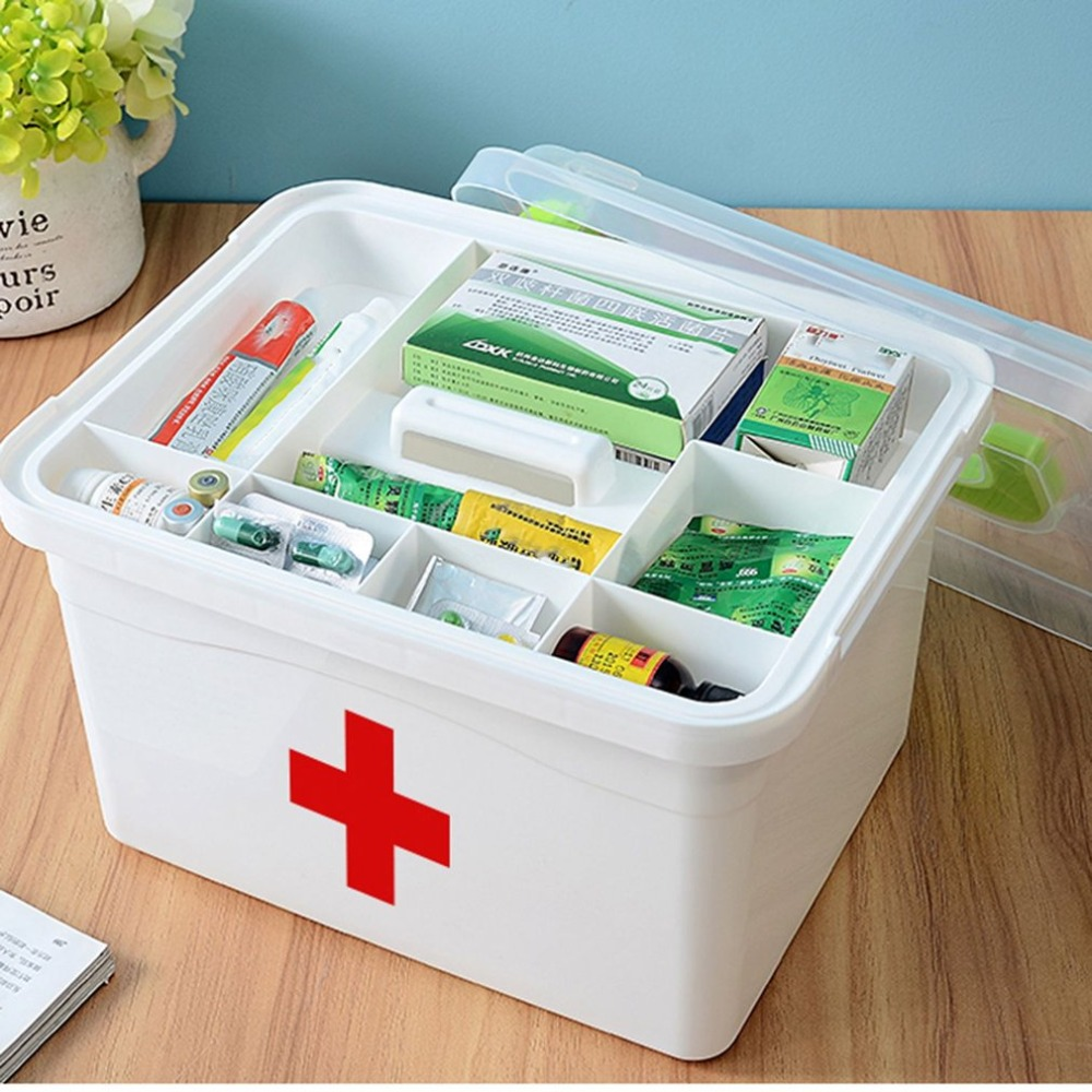 Portable Household First-Aid Kit Medicine Double Layer Sundries Storage Box Multifunctional Medicine Box Pill Organizer цена
