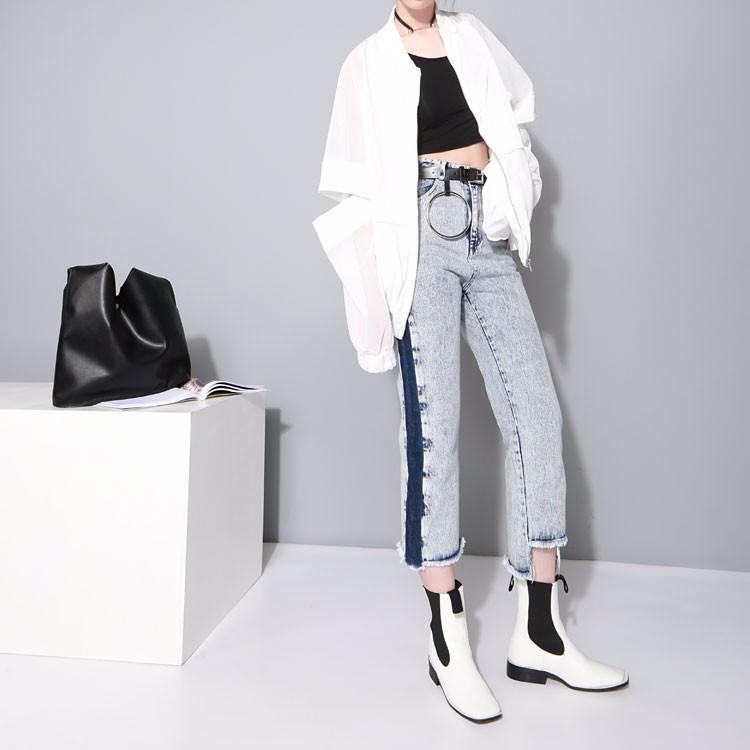 Omapärane läbipaistev valge või must pluus