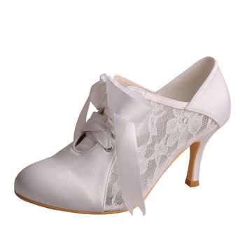 カスタム手作りレースアップウェディングシューズアイボリーサテンとレースの花嫁の靴クローズドつま先