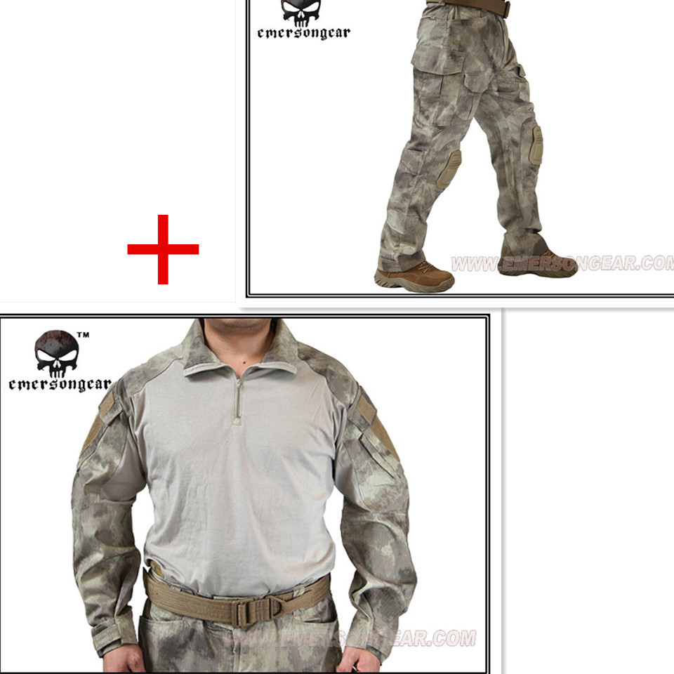 Emerson bdu G3 Combat uniform shirt & Pants with knee pads Emerson BDU Airsoft Military Army uniform A-tacs Suits EM8595+7048 emersongear g3 combat shirt pants military bdu army airsoft tactical gear paintball hunting uniform bdu atacs au emerson