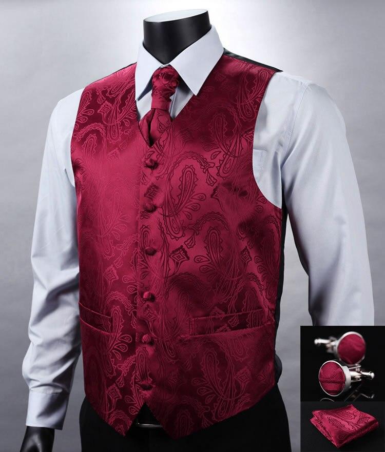 VE07 Красный Пейсли Топ Дизайн Свадебные Мужские 100% шелк жилет карман Квадратные запонки набор галстуков для костюма смокинг