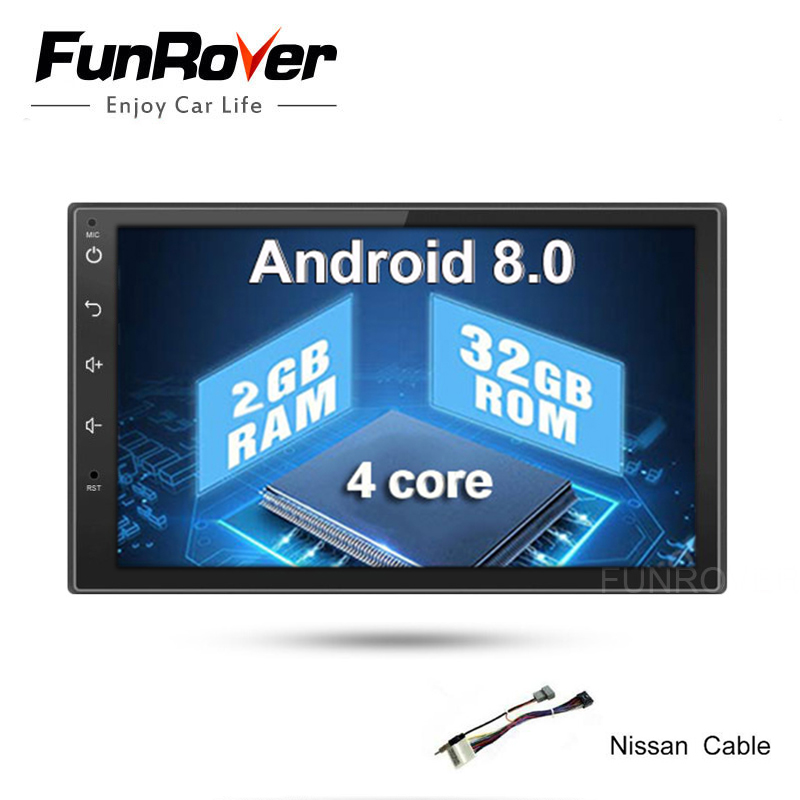 Funrover 2g+32g 2Din Android8.0 Car Dvd For Nissan Qashqai X-trail Almera Pathfinder Teana Note Juke Multimedia Gps Player Real cawanerl car sealing strip kit weatherstrip rubber seal edging trim anti noise for nissan almera march micra note pixo platina