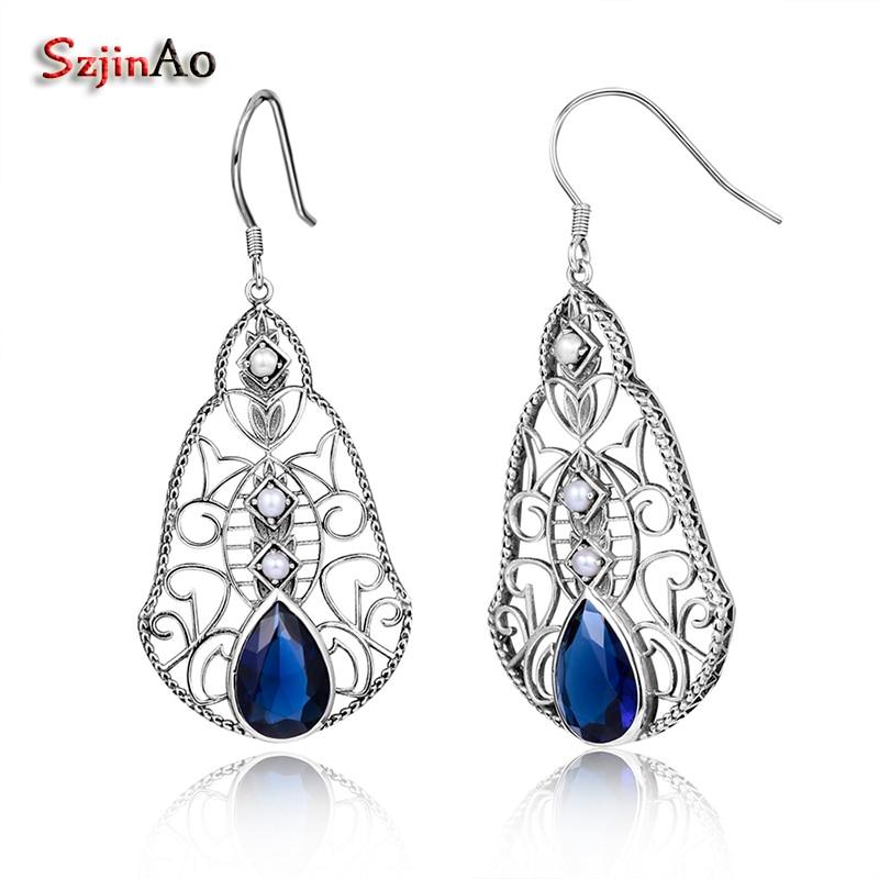 923f632b51fa Szjinao venta étnica Topacio Azul agua Pendientes de gota para las mujeres  joyería de plata esterlina pendiente de perla natural regalo del Día de San  ...
