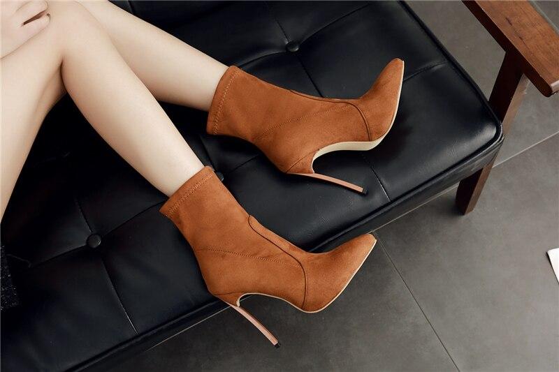 7de5427bd53 2019 Plus Size 42 Women 11cm High Heels Ankle Boots Female Suede Leather  Stretch Short Brown Boots Ladies Cute Thin Heels Shoes