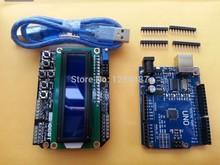 Бесплатная Доставка 3 ШТ. = 1 ЛОТ ООН R3 + USB Кабель + 1602 Клавиатура Щит для Arduino