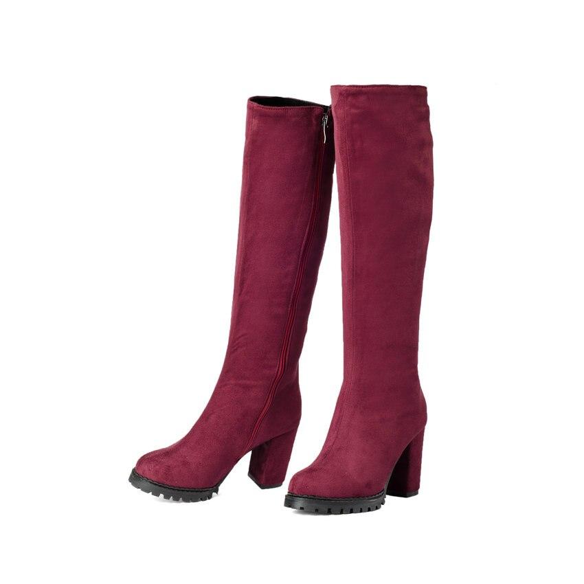 2018 Black Short Plush Knee High Boots Winter Women Shoe Elegant Boots Scrub Square High Heel Zipper Fashion Boots Size 34-43 camel women s pump 2015 new fashion leather winter short boots size zipper lace up elegant women s high heel boots pumpa54194612