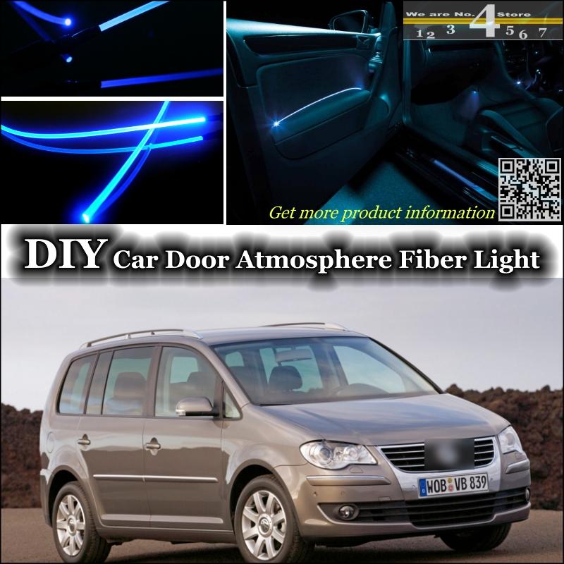 interior Ambient Light Tuning Atmosphere Fiber Optic Band Lights For Volkswagen VW Touran Inside Door Panel illumination Tuning