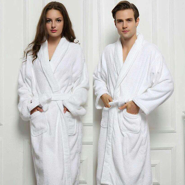 2017 Long Unisex Winter Warm Dressing Gown Women And Men White Robe Cotton Twist Towel Bathrobe Dressing Gown Bath Robe