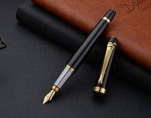 BAOER302 Fountain Pen Art Luxury Black metal Craft Gift pen Bend Tip for Student Stationery Can Customizable Logo
