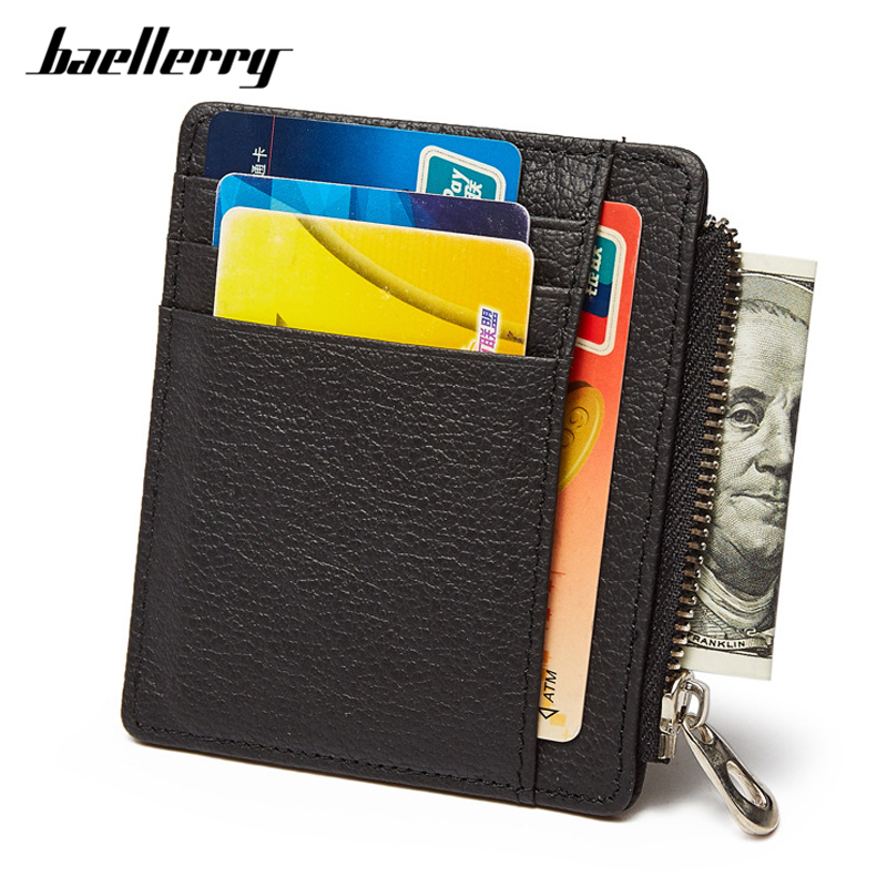 Baellerry 100% Cow Genuine Leather Male Card Wallet Super Thin Small Size Men Credit Card Holder Zipper Coin Purses Famous Brand ...