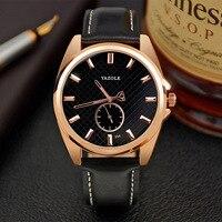 YAZOLE Brand 356 Mens Leather Strap Quartz Rose Gold Watch Fashion Luminous Pointer Waterproof Male Wristwatches