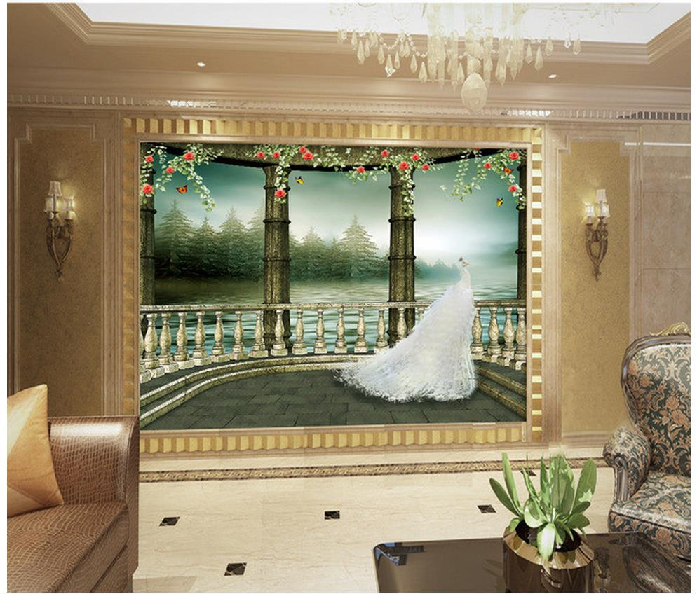 Buy beautiful white peacock 3d background for Bathroom mural wallpaper
