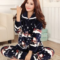 Thickening women winter flannel pajamas female coral fleece pajama sets sleepwear velvet long sleeve casual nightgown