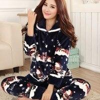 Thickening women winter flannel pajamas female coral fleece pajama sets sleepwear velvet long sleeve casual nightgown