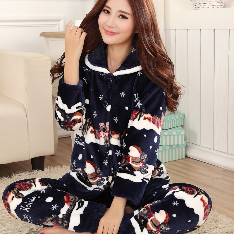 Thickening women winter flannel pajamas female coral fleece pajama sets sleepwear velvet long-sleeve casual nightgown pregnant women long nightdress women sleep nightshirt winter flannel thickening long nightgown maternity