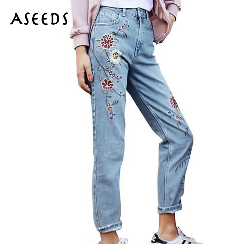 Elegant Flower Embroidery High Waist Jeans Female Casual Pants Capris Autumn Winter Pockets Straight Jeans Women Bottom 2017 women jeans vintage flower embroidery high waist pocket straight jeans female bottom light blue hole casual pants capris new