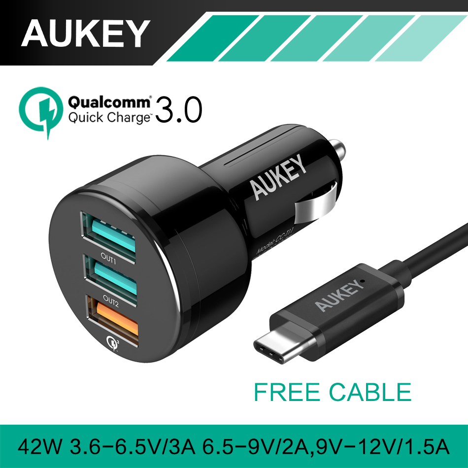 AUKEY For Qualcomm Quick Charger 3.0 with USB Cable 3 Ports Mini USB Car Charger for iPhone 7 iPad Samsung HTC QC2.0 Compatible