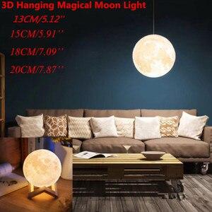Image 2 - Новое поступление подвесной шар 13 20 см 3D Лунная лампа с дистанционным управлением RGB светодиодный ночсветильник USB лунное освещение деревянная подставка