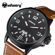 Infantry reloj para hombre marca de moda 3d hombres de la cara del reloj de cuarzo resistente al agua deporte militar relojes correa de cuero relojes hombre 2017