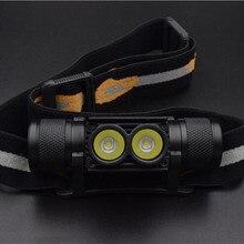 1100LM LED Đèn Pha Nhỏ Ánh Sáng Trắng Head Torch USB Sạc 18650 Pin Đèn Pha Cắm Trại Săn Bắn Đèn Pin