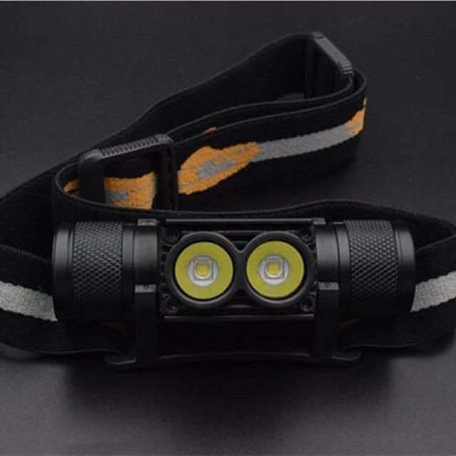 Mini lampe torche blanche avec chargeur USB et batterie phare LED, lampe frontale pour la chasse ou le Camping, 18650 lm