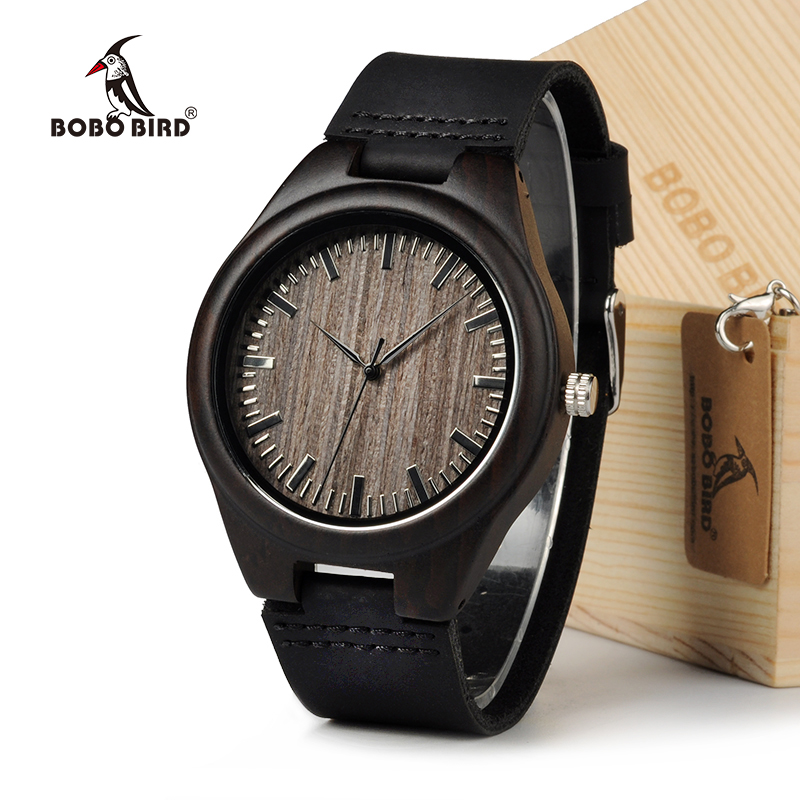 BOBOBIRD Limited Edition Bamboo Wooden Watches Men's Luxury Brand Designer Watch Leather Band Quartz Watches for Men In Gift Box