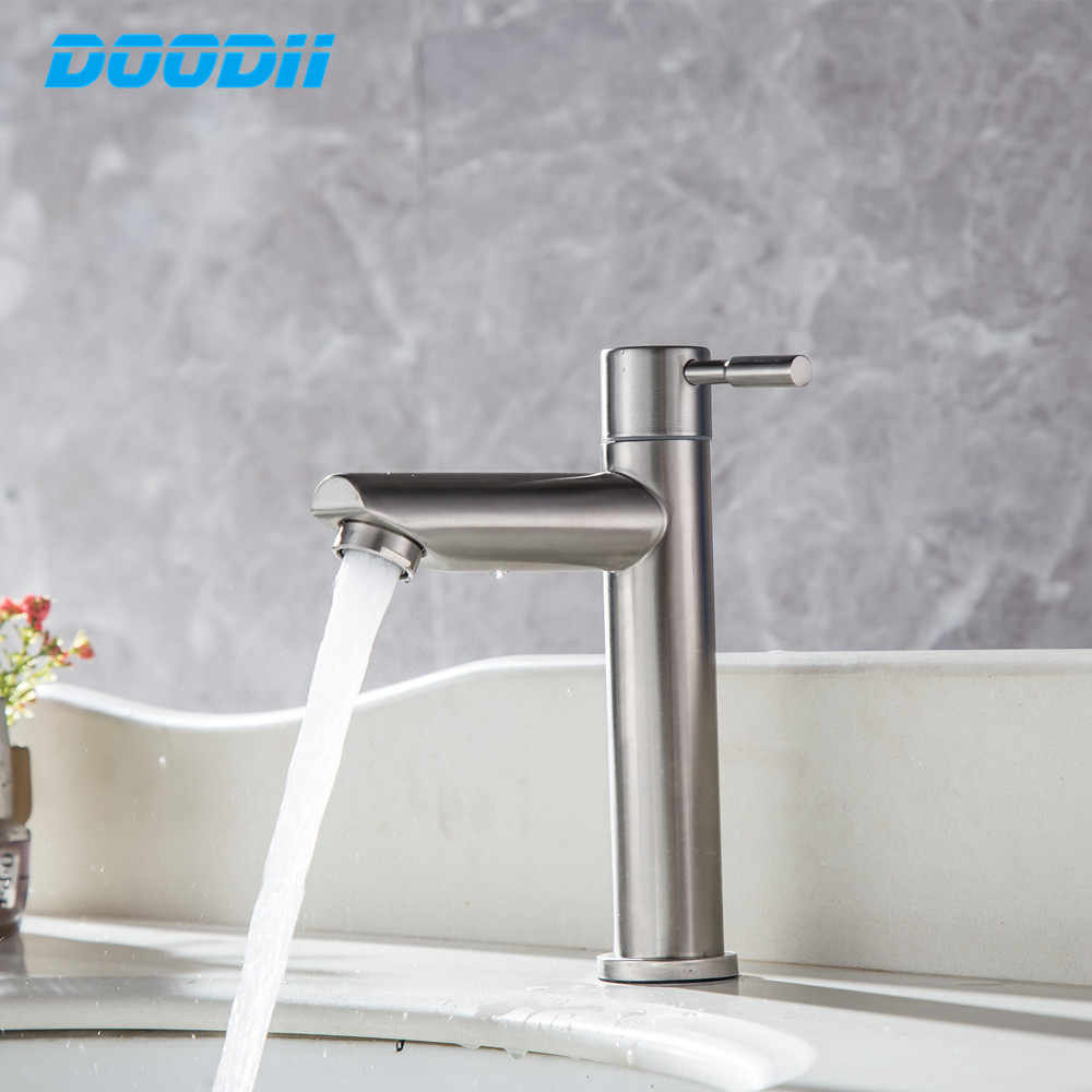 Stainless Steel Bathroom Sink Basin Mixer Bath Tap Kitchen Single Cold Faucet