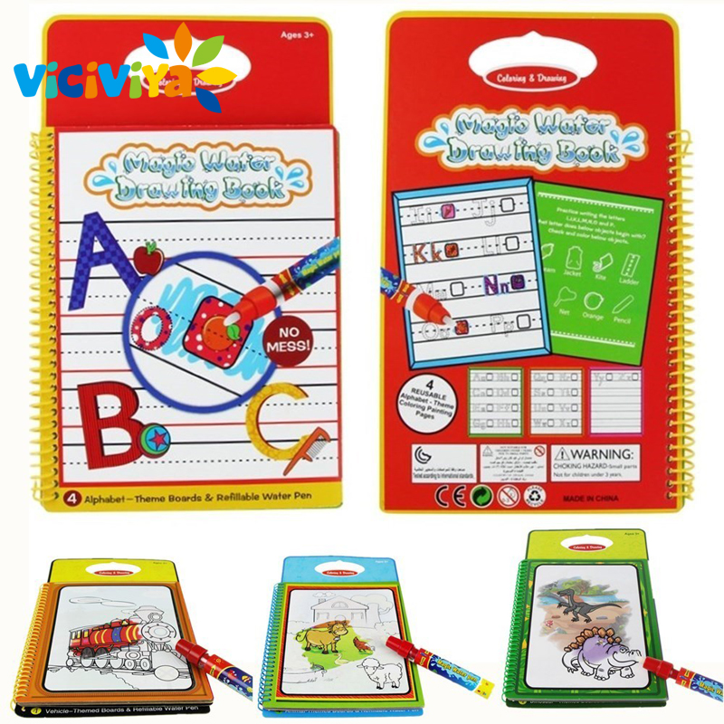 6 Design Magic Water Drawing Book Coloring Book Doodle with Magic Pen Painting Board Juguetes Children Education Drawing Toy^
