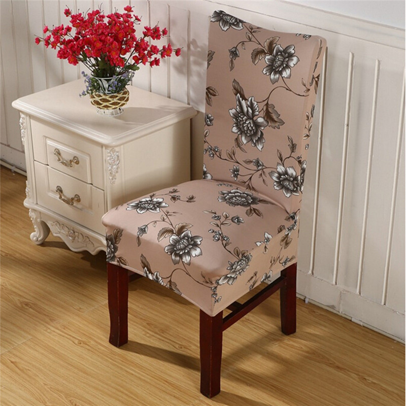 1 PCS Elastic Dining Room Wedding Banquet Floral Print Home Chair Cover Washable Slipcover Spandex Universal