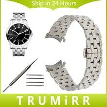 Curved end acero inoxidable correa de muñeca venda de reloj para maurice lacroix obra maestra pontos enlace pulsera de la correa 18mm 20mm 22mm 24mm