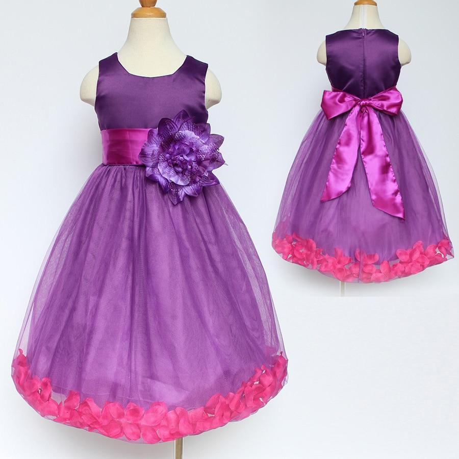 Online get cheap purple baby wedding dress aliexpress flower petals girls dress purple children toddler elegant dress baby kids infant pageant wedding bridal party ombrellifo Gallery