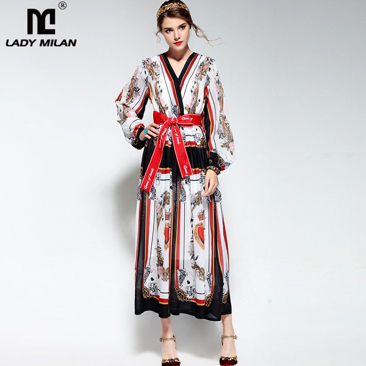 New Arrival Womens Sexy V Neck Characters Printed Letters Sash Bow Belt Fashion High Street Mid Calf Runway Dresses