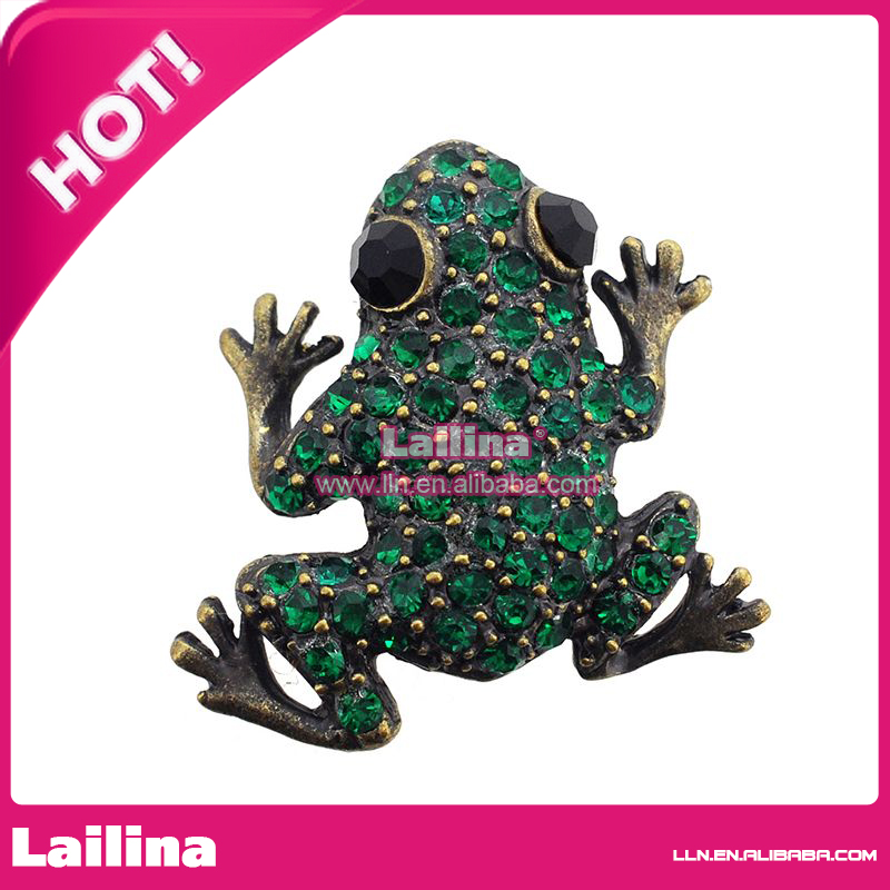 100pcs/lot Vinage Frog With Green Rhinestone Brooch Pin