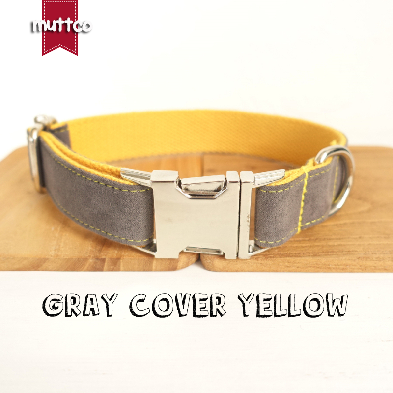MUTTCO retailing self-design dog collar GRAY COVER YELLOW handmade poly satin and nylon  ...