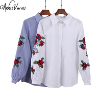Rose Floral Embroidery Striped Blouse Women Long Sleeve Shirt Casual Cotton Blusa 2017 New Fahion Tops
