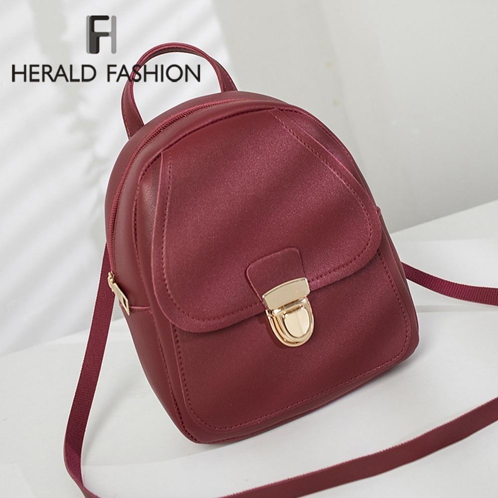Herald Fashion Summer Small Women Backpack Candy Color Student Bag For Teenager Girls Female Leather Travel Shoulder Bag Mochila