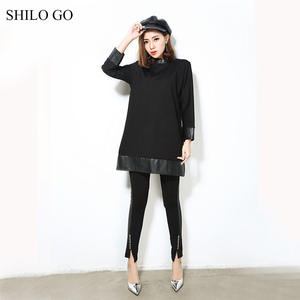 d202ae445312 SHILO GO Leather Suit Womens Spring Sets collar loose dress